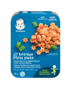 Gerber Lil' Entrees Pasta Stars in Meat Sauce with Green Beans 192G