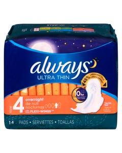 Always Ultra Thin Serviettes de Nuit Taille 4 14'S