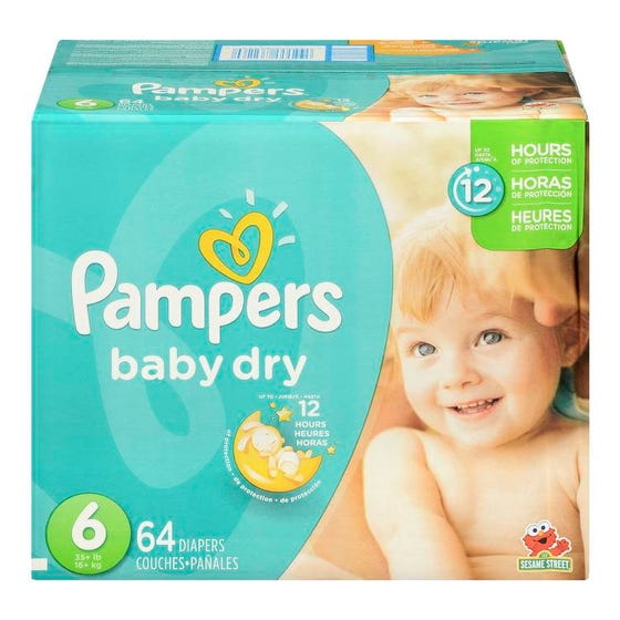 Pampers Baby Dry Couches Pour Bébé Taille 6 64'S