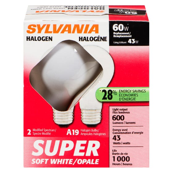 Sylvania Halogen 43W A19 White 2 Pack