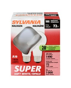 Sylvania Halogen 72W A19 White 2 Pack