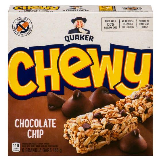 Quaker Chewy Barres Tendres Brisures de Chocolat 156G