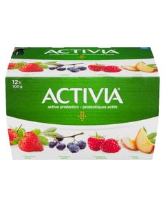 Activia Yogurt Strawberry/Blueberry/Raspberry/Peach 12x100G
