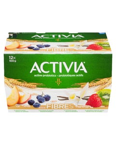 Activia Fibres Yogurt Peach / Blueberry / Vanilla / Strawberry-Kiwi 12X100G