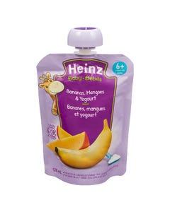 Heinz Bébés Purée Bananes Mangues et Yogourt en Sachet 128ML