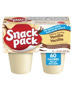 Snack Pack Vanilla Pudding No Sugar Added 4X99G
