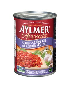 Aylmer Accents Garlic & Olive Oil Petite Cut Stewed Tomatoes 540ML