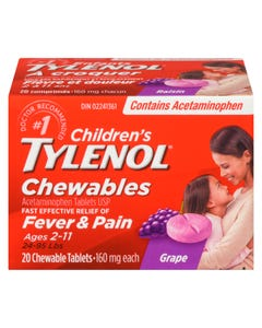 Tylenol Childrens Chewables Grape 160mg 20ct