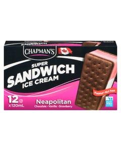Chapman's Super Sandwich Ice Cream Neapolitan 12X120ML