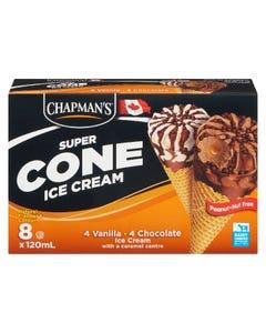 Chapman's Super Cone Ice Cream Vanilla & Chocolate 8X120ML