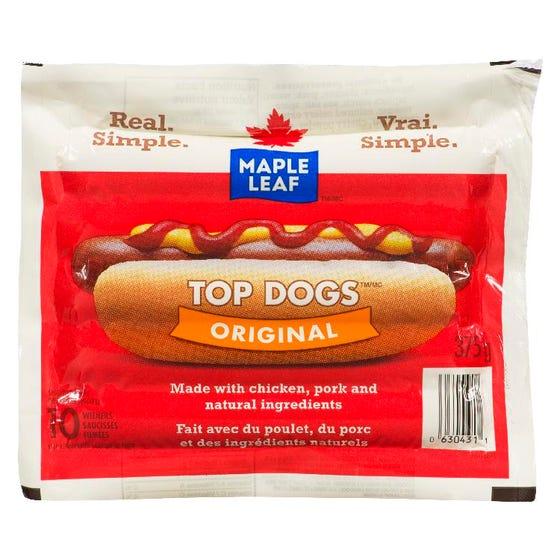 Maple Leaf Saucisses Fumées Originales Top Dogs 375G