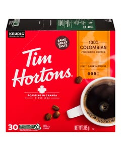 Tim Hortons 100% Colombian K-cups 30CT 315G