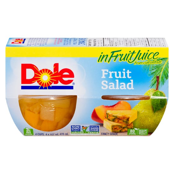 Dole Fruit Bowls Fruit Salad 4x107ML