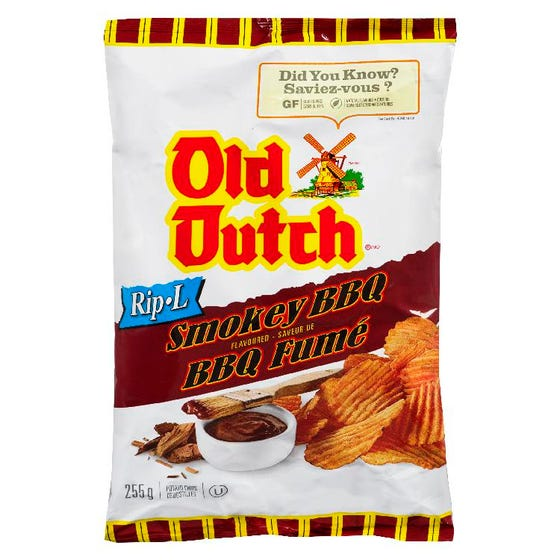 Old Dutch Potato Chips Rip-L Smokey BBQ 255G