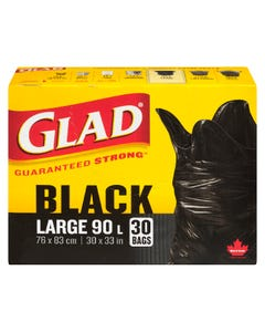 Glad Black Garbage Bags Large 90L 30CT