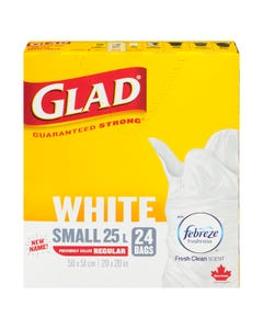 Glad Small White Garbage Bags with Febreze 25L 24CT