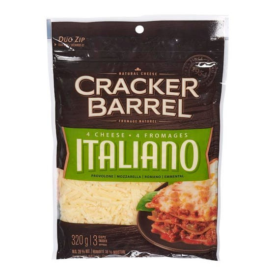 Cracker Barrel Shredded Cheese 4 Cheese Italiano 320g
