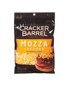 Cracker Barrel Shredded Cheese Mozza Cheddar 320g