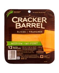 Cracker Barrel Slices Medium Cheddar Cheese 240G