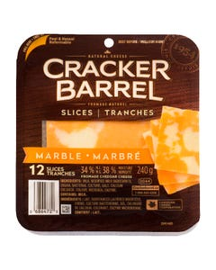 Cracker Barrel Slices Marble Cheddar Cheese 240G