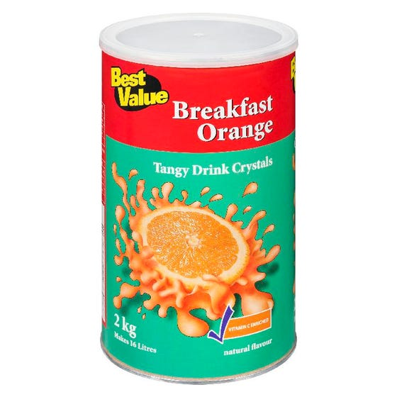 Best Value Cristaux de Boissons Orange Déjeuner 2Kg