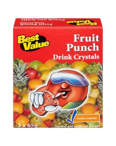 Best Value Drink Crystals Fruit Punch 3x65g