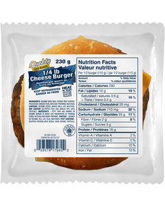 Quality Fast Foods 1/4 LB Cheese Burger 230G