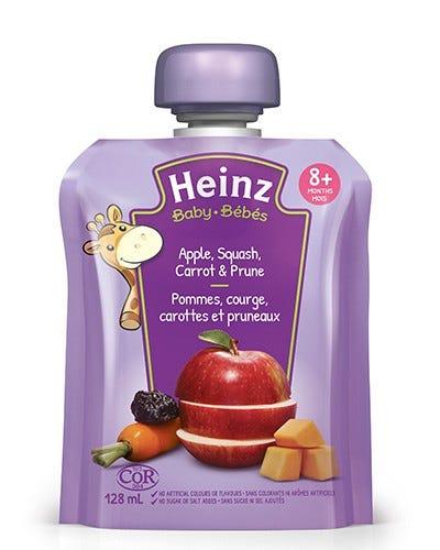 Heinz Bébés Purée Pommes Courge Carottes et Pruneaux en Sachet 128ML