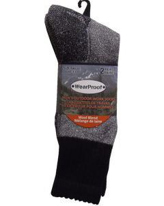 Wearproof Mens Sock Work 2-Pack One Size Black