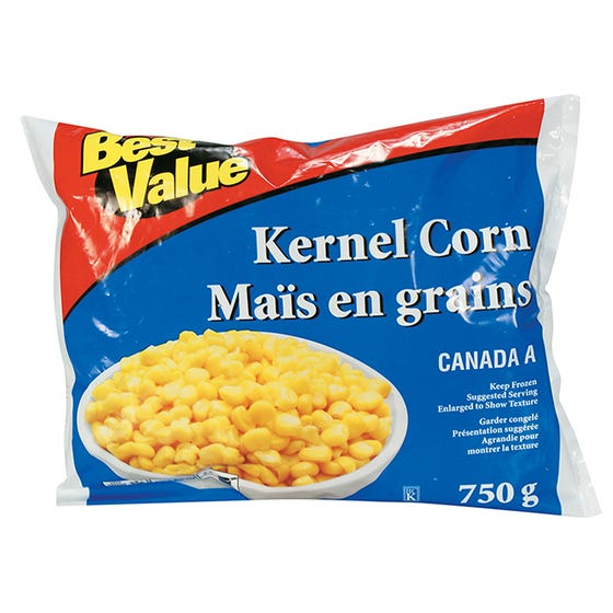 Best Value Frozen Whole Kernel Corn 750g