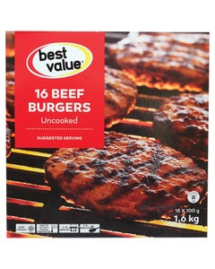 Best Value Burgers De Boeuf 1.6KG