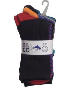 Boys Fashion Socks 7 Pack Size 7-9
