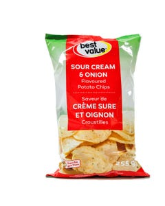 Best Value Potato Chips Sour Cream & Onion 255g