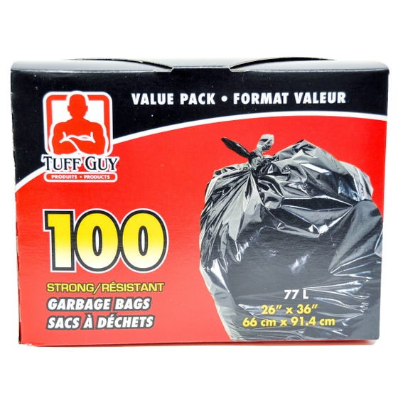 Tuff Guy Garbage Bags Outdoor 100ct 77l