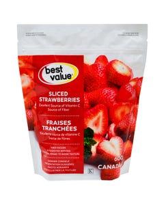 Best Value Fruits Congelés Fraises Tranchées 600G